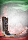 Mexican pointy boot poster - mexican tribal music club dancing template Royalty Free Stock Photos