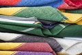 Mexican poncho fabric varoius colours Royalty Free Stock Photo
