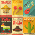Mexican posters in retro style cinco de mayo illustration Royalty Free Stock Photo