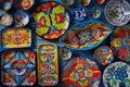 Mexican pottery Talavera style of Mexico Royalty Free Stock Photo