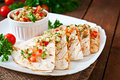 Mexican Quesadilla wrap with chicken, corn and sweet pepper Royalty Free Stock Photo