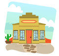 Mexican restaurant cartoon illustration of a and landscape in the background eps Royalty Free Stock Photo