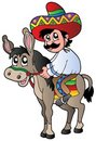 Mexican riding donkey Royalty Free Stock Photo