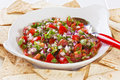 Mexican salad pico de gallo or salsa fresca is a fresh uncooked relish in cuisine made from tomatoes red onion chilli olive oil Royalty Free Stock Photography