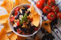 Mexican salsa and corn chips nachos. horizontal top view close-u Royalty Free Stock Photo