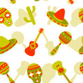 Mexican seamless pattern vector of symbols Royalty Free Stock Photos