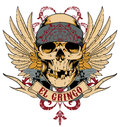 Mexican skull with bandana wings and guns vector format Royalty Free Stock Image