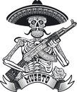 Mexican skull holding assault rifle, and banner with the text dead in spanish Royalty Free Stock Photo