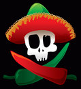 Mexican skull and peppers Stock Photography
