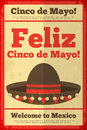Mexican sombrero posters in retro style cinco de mayo illustration Royalty Free Stock Photos