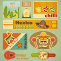 Mexican stickers set of in retro style illustration Royalty Free Stock Photos