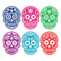 Mexican sugar skull, Dia de los Muertos colorful icons set Royalty Free Stock Photos