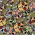 Mexican sugar skull, Dia de los Muertos icons set– stock illustration– stock illustration