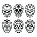 Mexican sugar skull dia de los muertos icons set vector icon of decorated tradition in mexico black isolated on white Stock Photos