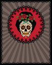 Mexican sugar skull frame with girl Royalty Free Stock Photo