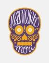 Mexican sugar skull with memento mori lettering colorful illustration for day of the dead día de los muertos Stock Photo