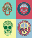 Mexican sugar skull vector drawing of four different Royalty Free Stock Image