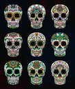 Mexican sugar skulls with floral pattern set, Day of The Dead vector Illustration Royalty Free Stock Photo