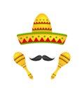 Mexican Symbols Sombrero Hat, Musical Maracas, Mustache Royalty Free Stock Photo