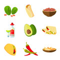 Mexican taco, burrito and nachos food, avocado, tequila, red hot pepper vector cartoon icons