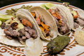 Mexican tacos close up arrachera beef with chistorra which is a type of fast cure sausage Royalty Free Stock Photography