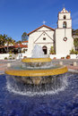 Mexican tile fountain mission san buenaventura ventura california founded by father junipero serra named for saint bonaventure Royalty Free Stock Image