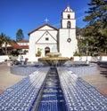 Mexican tile fountain mission san buenaventura ventura california founded by father junipero serra named for saint bonaventure Stock Photos
