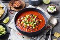 Mexican tomato, bean, bell pepper soup