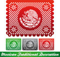 Mexican traditional patriotic decoration paper cut easy edit Stock Photography