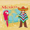 Mexican typical man and colorful parrot illustration Royalty Free Stock Photos