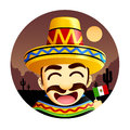 Mexican wearing sombrero a illustration of a happy a and waving a flag Stock Image