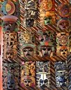 Mexican wooden mask handcrafted wood faces Stock Image