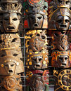 Mexican wooden mask handcrafted wood faces Stock Photo