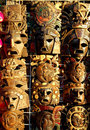 Mexican wooden mask handcrafted wood faces Stock Images