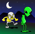 Mexican wrestler vs Alien Royalty Free Stock Photo
