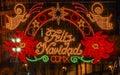 Mexico City Zocalo Mexico Christmas Night Feliz Navidad Sign