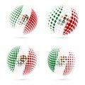 Mexico halftone flag set patriotic vector design.