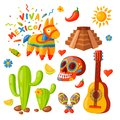 Mexico icons vector illustration traditional graphic travel tequila alcohol fiesta drink ethnicity aztec maraca sombrero