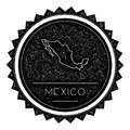 Mexico Map Label with Retro Vintage Styled Design.