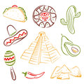 Mexico mexican food colorful and vector set Stock Image