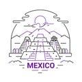 Mexico - modern vector line travel illustration