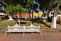 Mexico valladolid bench in the park in town Stock Photography