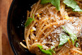 Meyer lemon spaghetti caramelized with toasted garlic breadcrumbs and parmesan cheese garnished with parsley Royalty Free Stock Images