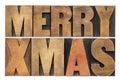 Merry Xmas In Wood Type