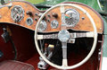 Mg classic sports car interior detail of with soft open top showing steering wheel walnut dash board instruments and gear stick Stock Image