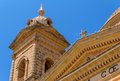 Mgarr church tower detail of the roof and of the in malta Royalty Free Stock Image