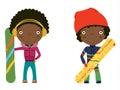 Miúdos do african-american do Snowboard Imagens de Stock Royalty Free