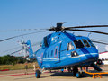 Mi helicopter zhukowsky august russian military and civil transport e h class aircraft at international aviation space salon in Royalty Free Stock Photos