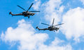 Mi n havoc attack helicopter helicopters of aerobatic team berkuty fly on rehearsal of parade devoted to th victory day aniversary Stock Images