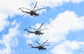 Mi n havoc attack helicopter helicopters of aerobatic team berkuty fly on rehearsal of parade devoted to th victory day aniversary Stock Photography